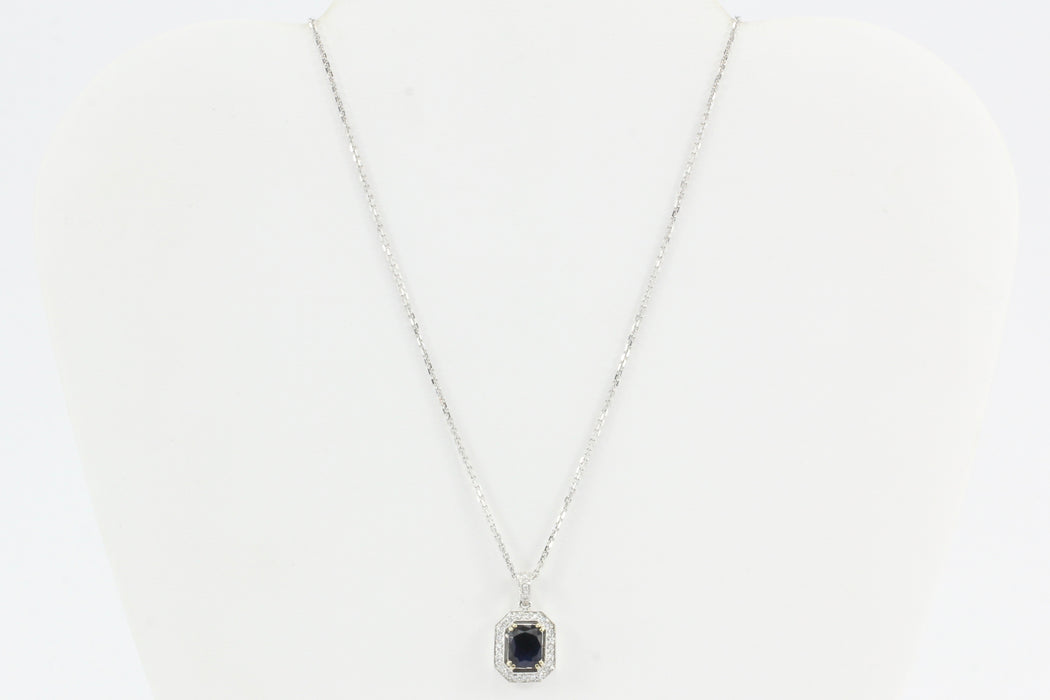 18k White Gold 2 Carat Blue Sapphire & Diamond Necklace - Queen May