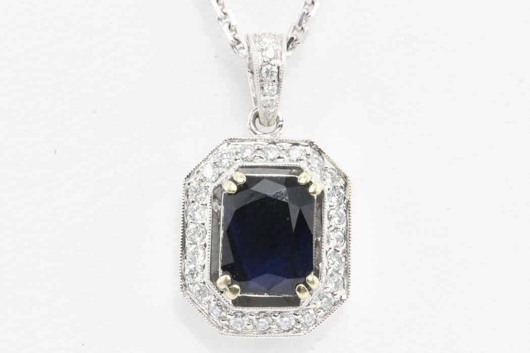 18k White Gold 2 Carat Blue Sapphire & Diamond Necklace