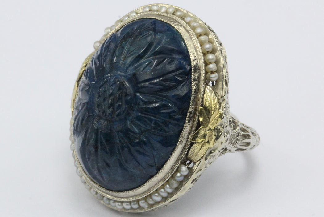 Antique Art Deco 14K White Gold Carved Blue Stone Seed Pearl Chunky Ring - Queen May