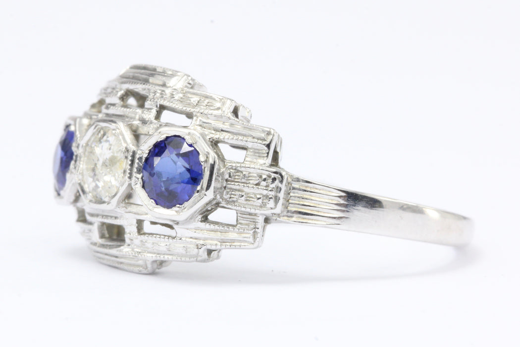 Art Deco 18K White Gold Old European Cut Diamond Sapphire Ring c.1920's - Queen May
