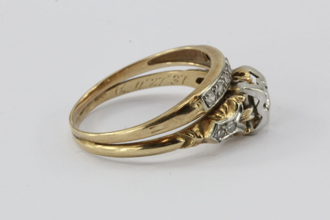 Antique Art Deco 14K 18K  Gold & Diamond Engagement Ring & Wedding Band Set - Queen May