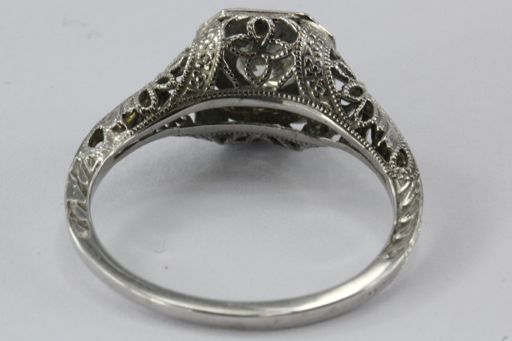 Antique Art Nouveau 18K White Gold & Diamond Engagement Ring - Queen May