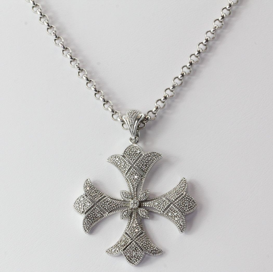 maltese product sterling vintage filigree cross silver antique brooch pendant malta