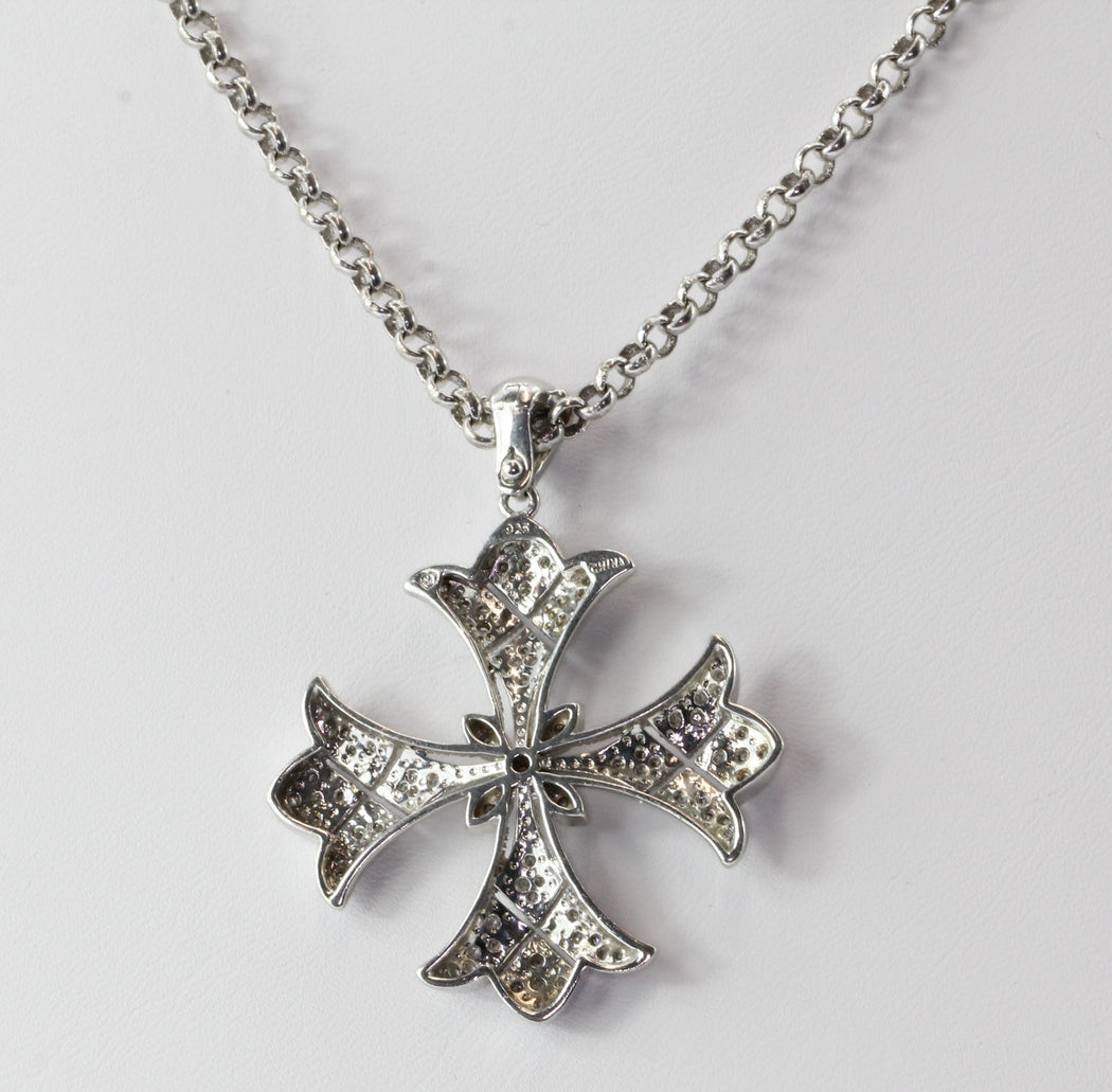 Sterling Silver & Diamond Accent Maltese Cross Pendant & Chain - Queen May
