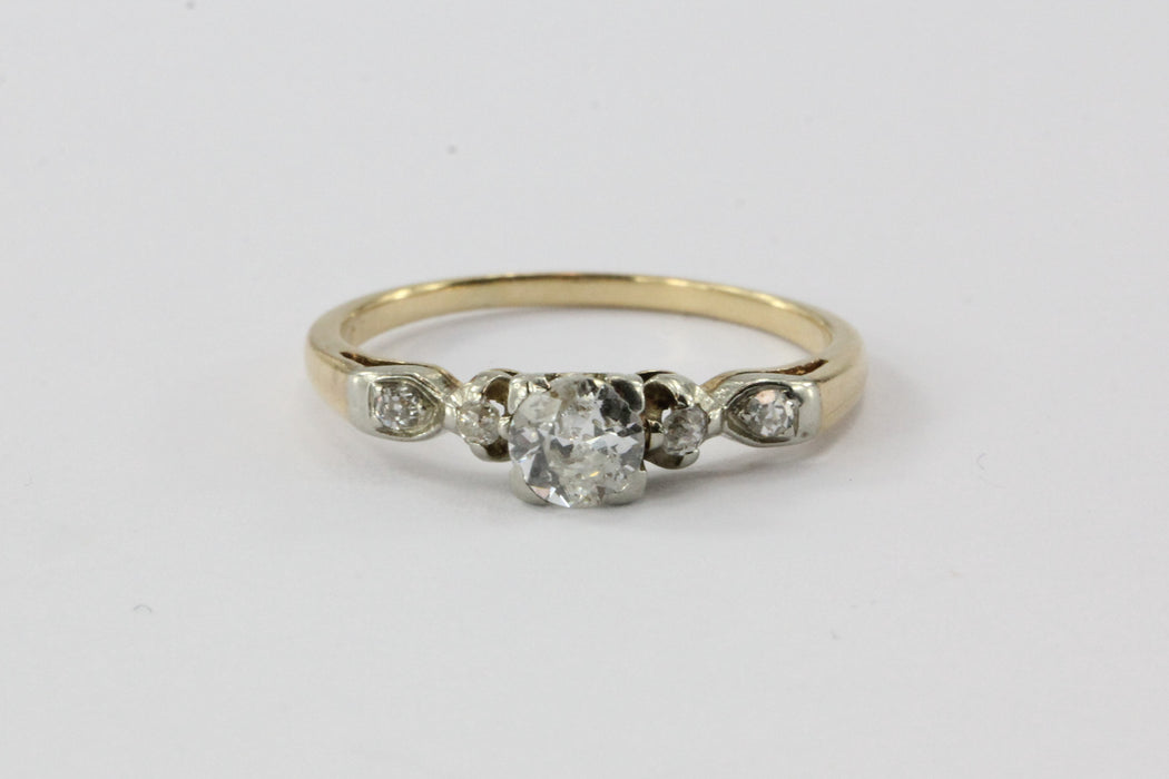 Antique 1/2 Carat Old European Diamond 14K Gold Engagement Ring
