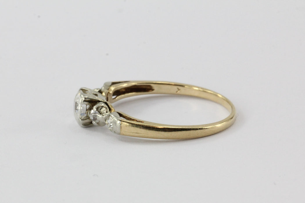 Antique 1/2 Carat Old European Diamond 14K Gold Engagement Ring - Queen May