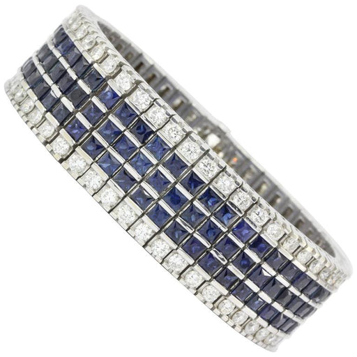 18K White Gold Diamond & Blue Sapphire Wide Tennis Bracelet 30 CTW - Queen May