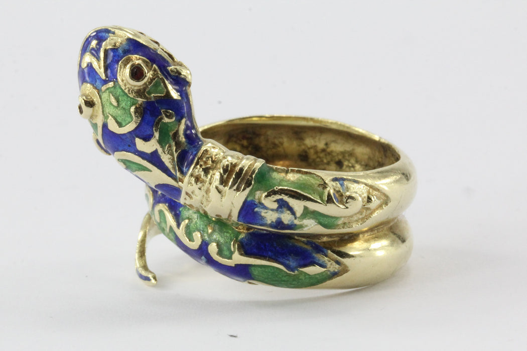 Vintage 14K Gold Blue & Green Enamel Coiled Snake Ring - Queen May