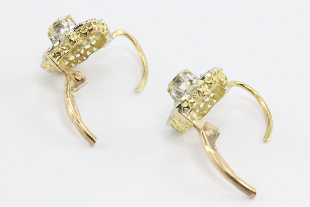 French Fin de Siecle 18K Gold Rose Cut Diamond Earrings c.1900 - Queen May