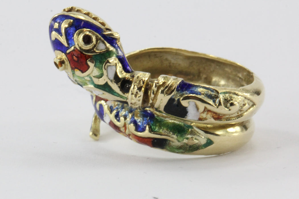 Vintage 14K Gold Blue Green Red White & Black Enamel Coiled Snake Ring - Queen May