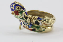 Vintage 14K Gold Blue Green Red White & Black Enamel Coiled Snake Ring