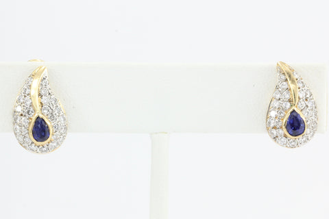 Vintage Black Starr & Frost 14K Sapphire Diamond Earrings  c.1970's