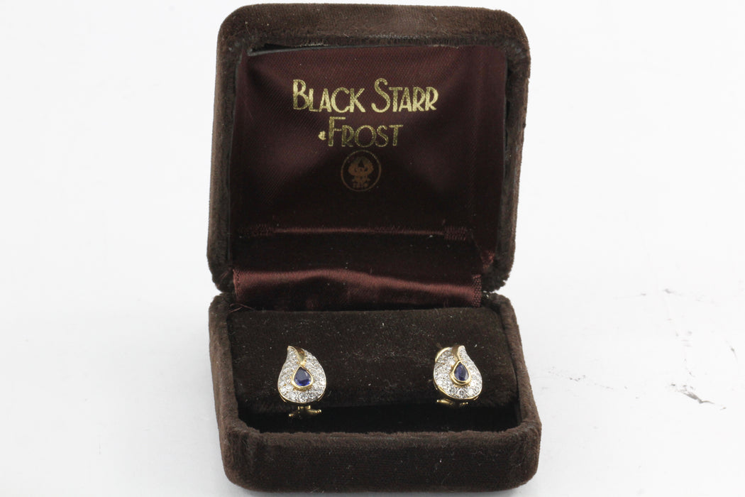 Vintage Black Starr & Frost 14K Sapphire Diamond Earrings  c.1970's - Queen May