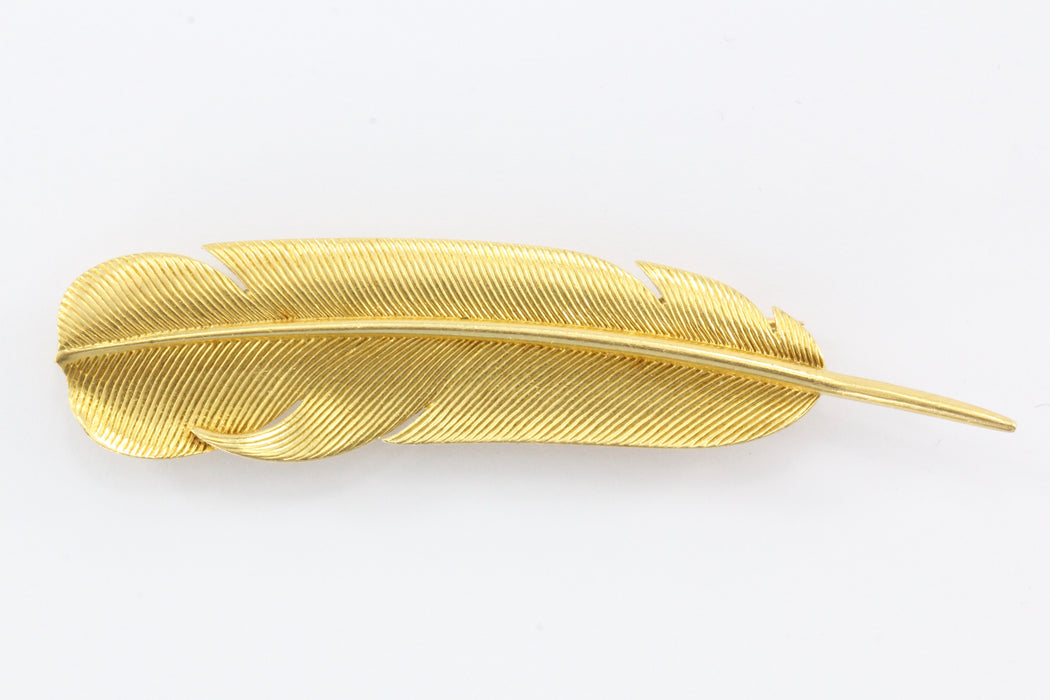 "Hermes 18k Gold Feather ""Plume d'or"" Brooch c.1950's - Queen May"