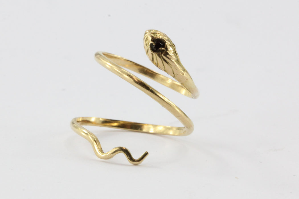 Vintage Italian 18K Gold Garnet Adjustable Coiled Snake Ring - Queen May