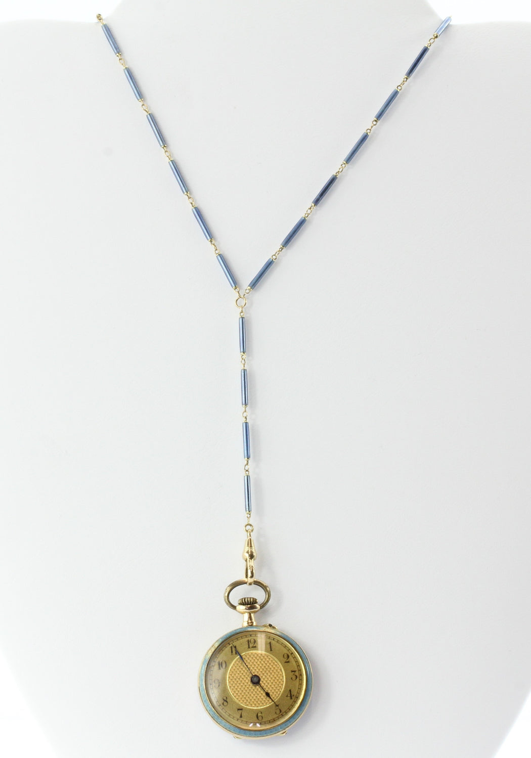 Late 19th Century Swiss Avance Retard 14k Yellow Gold Swiss Blue Enamel Watch and Lariat - Queen May