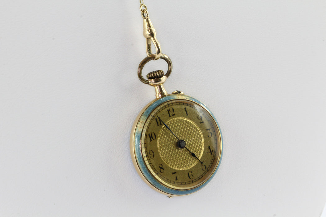 Late 19th Century Swiss Avance Retard 14k Yellow Gold Swiss Blue Enamel Watch and Lariat