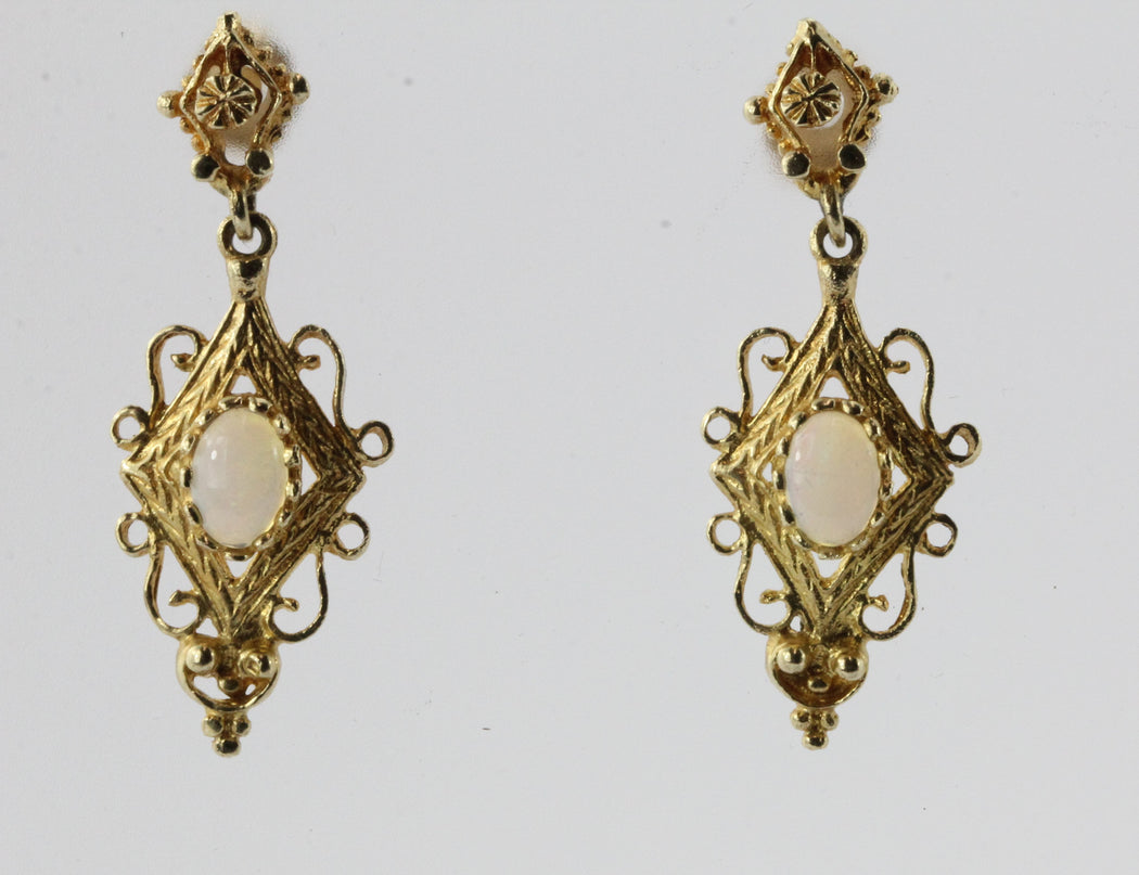 14K Gold & Opal Victorian Style Dangle Earrings - Queen May