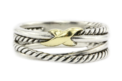 David Yurman Sterling Silver with Yellow Gold Accent Crossover Ring - Queen May
