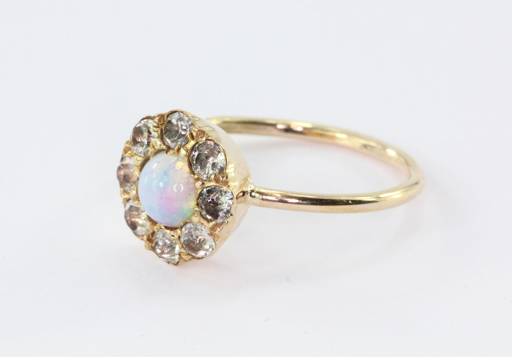 Antique Victorian 10k Gold Opal & Paste Conversion Ring - Queen May