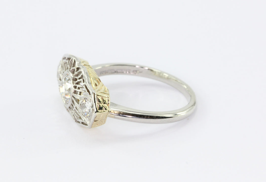 Art Deco Platinum 14K Yellow Gold Old Mine Cut Diamond Stick Pin Conversion Ring - Queen May