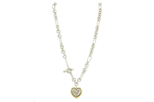 David Yurman Silver & 18K Yellow Gold Two Tone Cable Heart Figaro Necklace