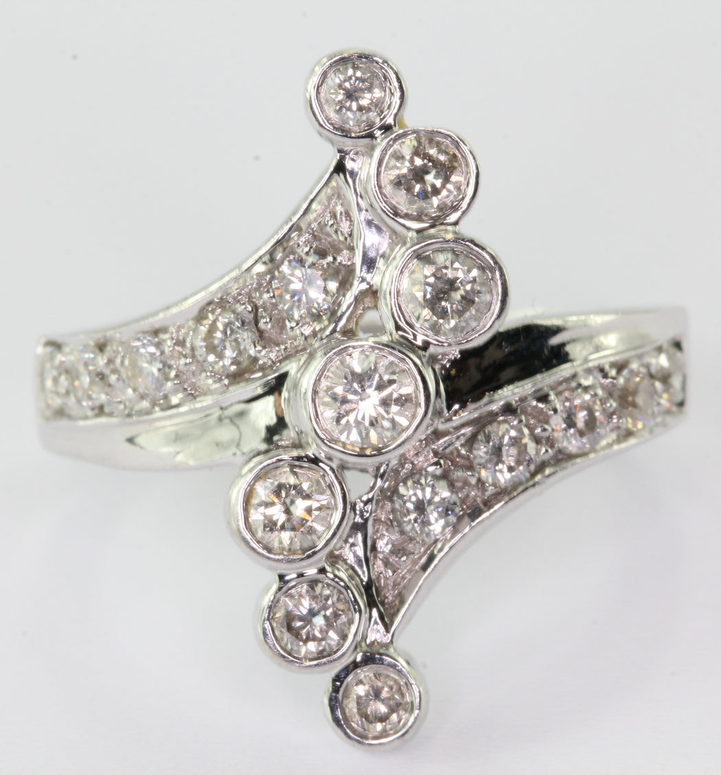 14K White Gold Diamond Journey Ring .78 CTTW