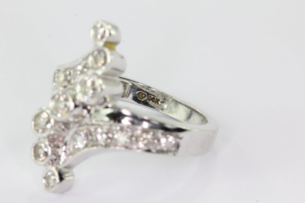 14K White Gold Diamond Journey Ring .78 CTTW - Queen May