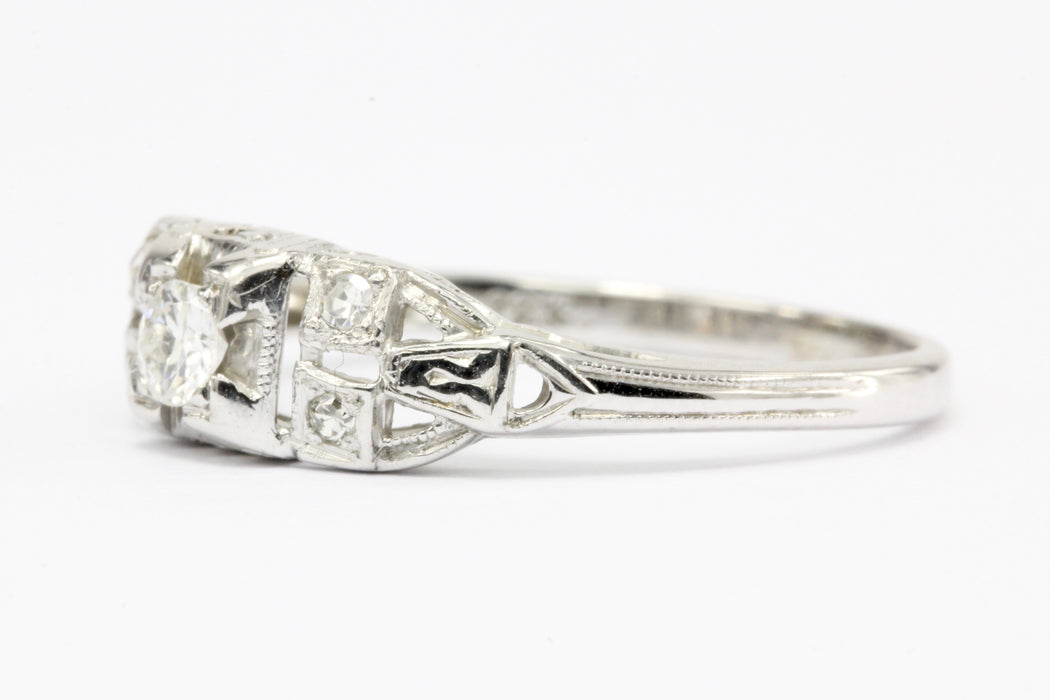 Art Deco 18K White Gold Diamond Engagement Ring c.1920's - Queen May