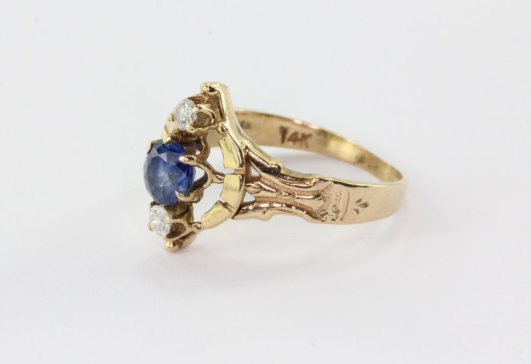 14K Yellow Gold Victorian Revival Natural Sapphire Diamond Ring - Queen May