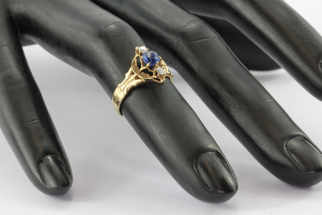 14K Yellow Gold Victorian Revival Natural Sapphire Diamond Ring