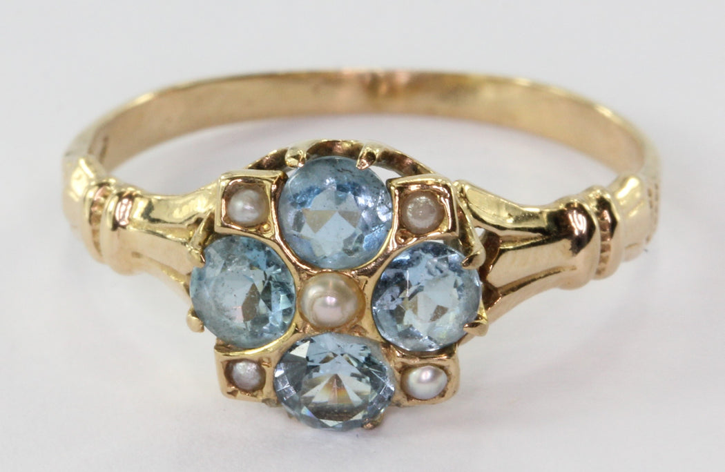 Victorian 14K Gold Aquamarine Seed Pearl Ring - Queen May