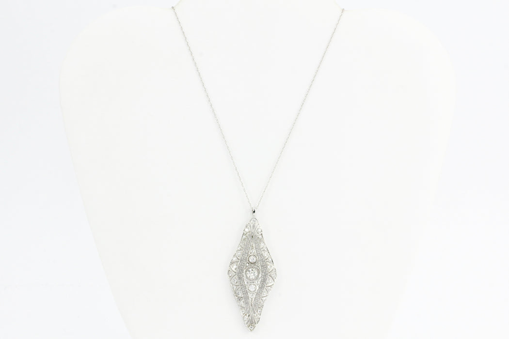 Art Deco Platinum Diamond Pendant C.1920's - Queen May