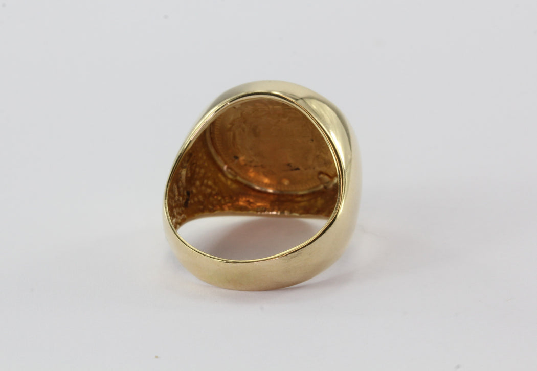 1854 US Gold $1 Dollar Indian Princess set in 14K Gold Ring Size 7.5 - Queen May