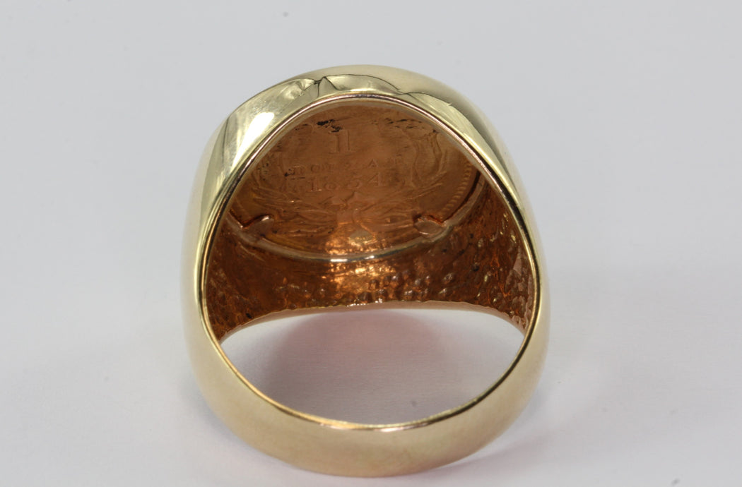 1854 US Gold $1 Dollar Indian Princess set in 14K Gold Ring Size 7.5
