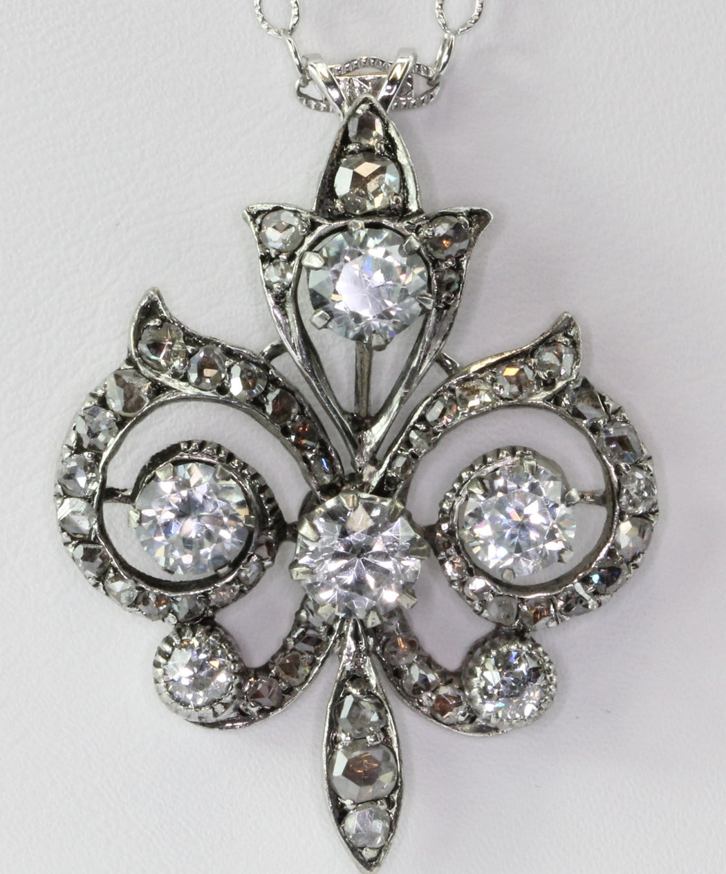 Victorian 14K White Gold Fleur de Lis w/ Rose Cut Diamonds & Sapphires Necklace - Queen May