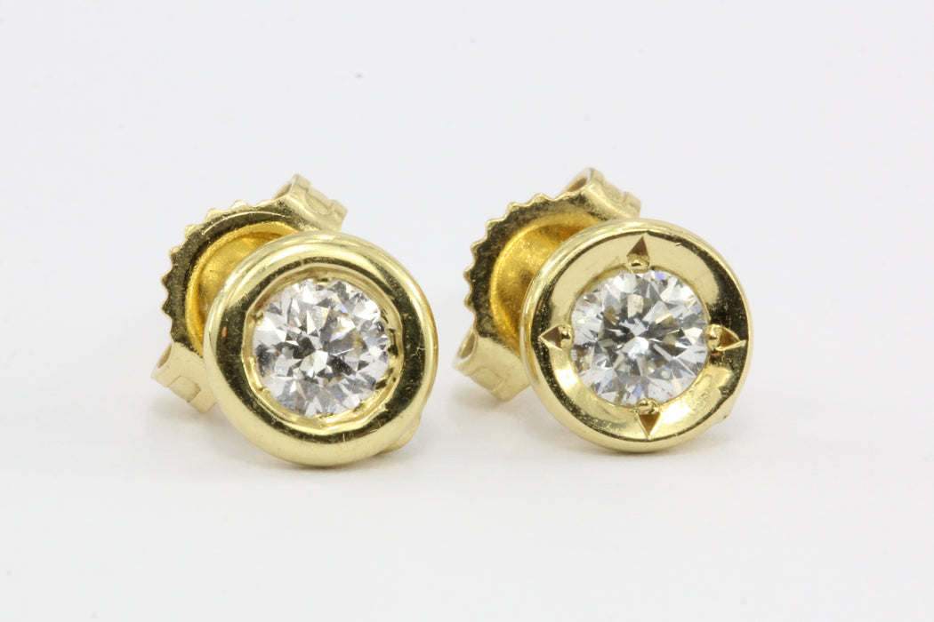 Roberto Coin 18K Gold Diamond Solitaire Stud Earrings .38 ctw - Queen May
