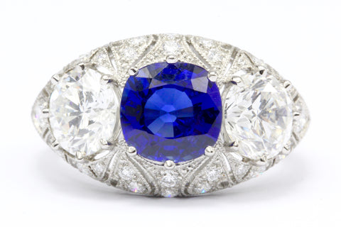 French Art Deco Style Platinum 2.6 Carat Blue Sapphire Diamond Ring IGI