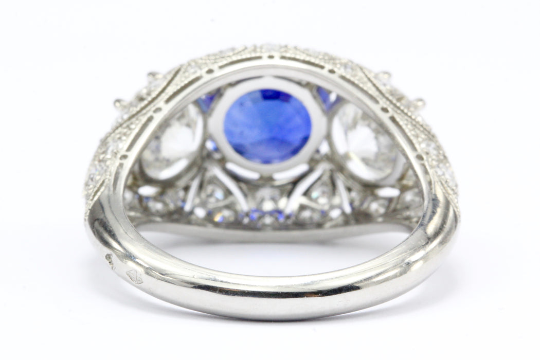 French Art Deco Style Platinum 2.6 Carat Blue Sapphire Diamond Ring IGI - Queen May