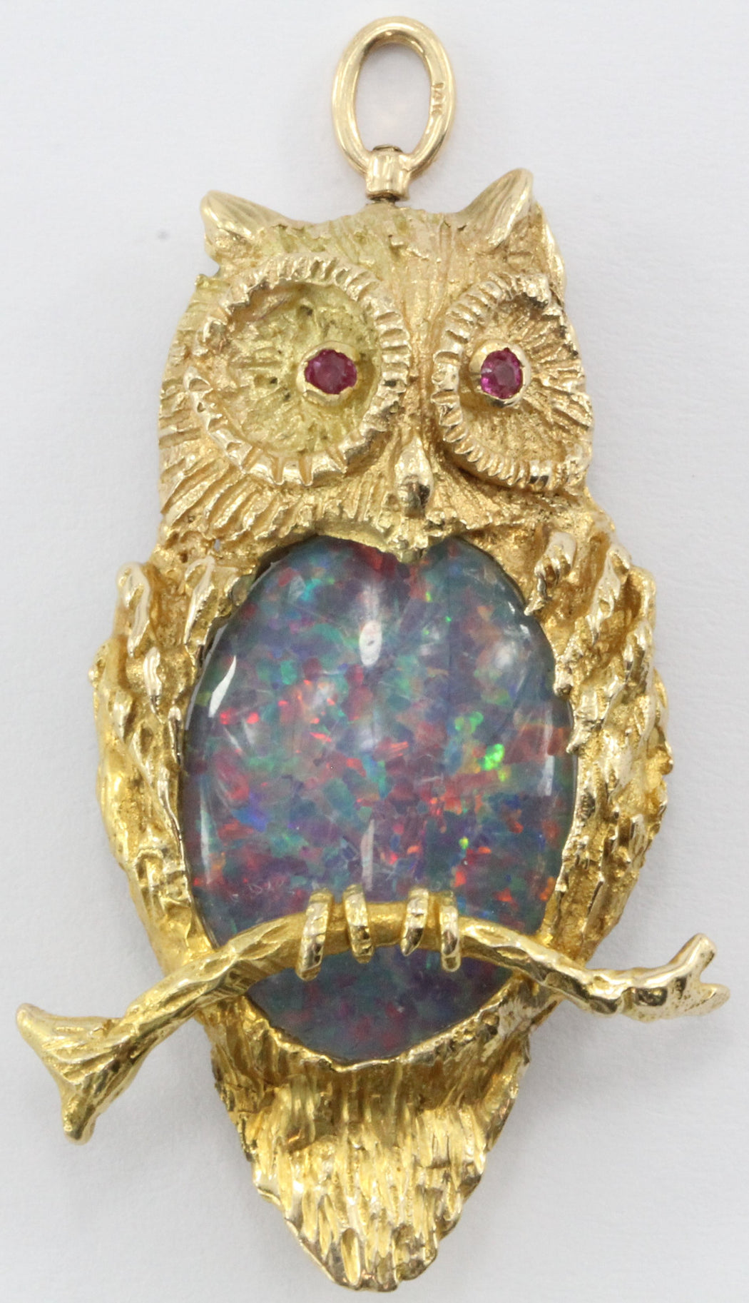 Vintage Designer 14K Gold & Opal & Ruby Perched Owl Pendant / Brooch - Queen May