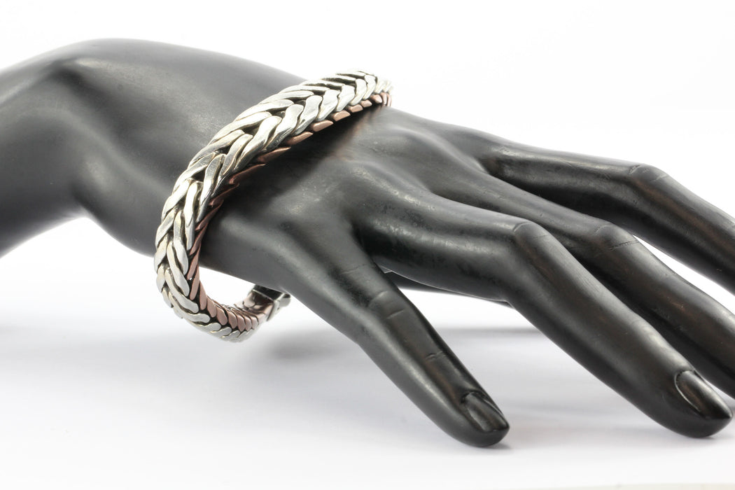 John Hardy Contoured Silver Copper Woven Chain Bracelet - Queen May