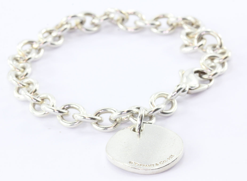 Tiffany & Co. New York Silver Notes Round Circle Disc Tag Charm Bracelet - Queen May