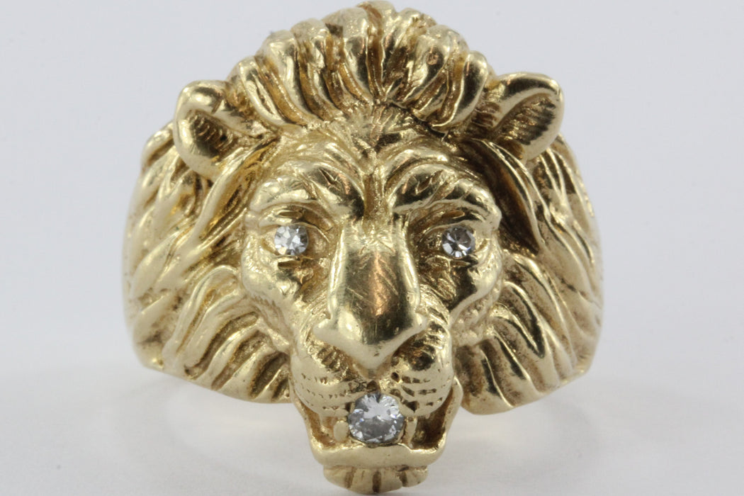 Vintage 14K Gold & Diamond Chunky Figural Lions Head Ring .10 CTW - Queen May
