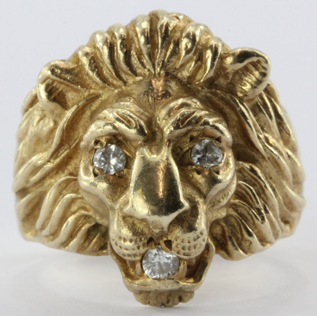 Vintage 14K Gold & Diamond Chunky Figural Lions Head Ring .31 CTW - Queen May