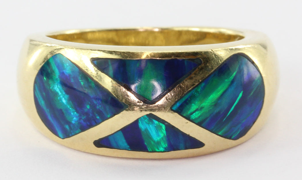 14K Yellow Gold Black Opal Inlay Ring by R&G