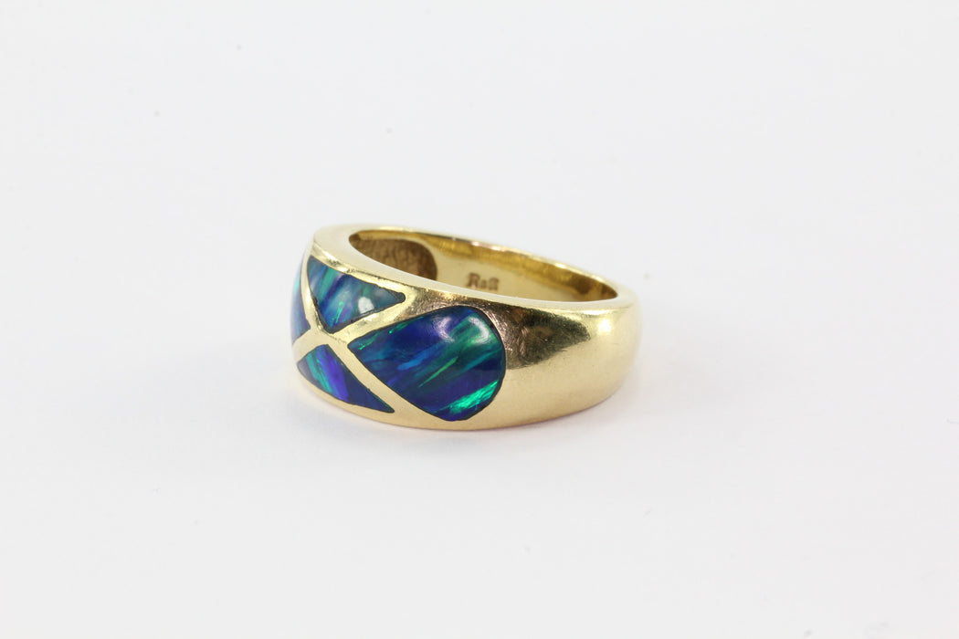 14K Yellow Gold Black Opal Inlay Ring by R&G - Queen May