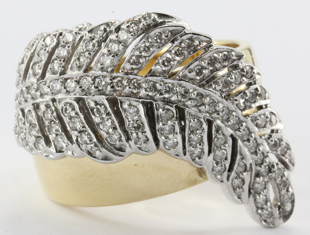 Sonia B 14K White & Yellow Gold Diamond Leaf / Feather Ring Sonia Bitton - Queen May