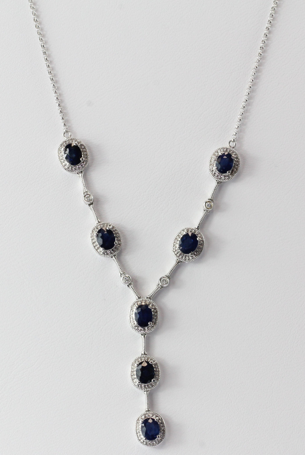 14K White Gold Natural Sapphire & Diamond Necklace