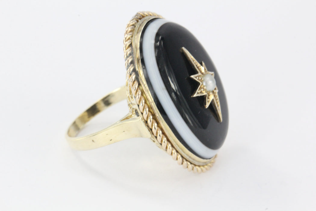 Antique Victorian & Gold Banded Agate Starburst Pearl Conversion Ring - Queen May