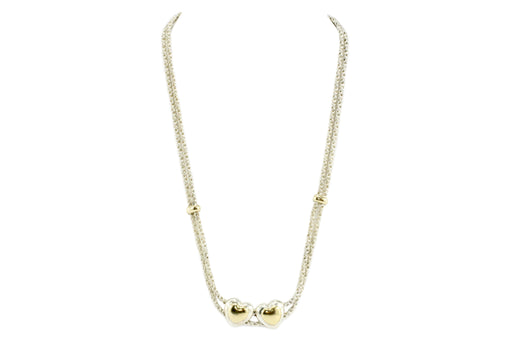 Tiffany Sterling Silver and 18k Yellow Gold Double Heart Rope Chain Necklace - Queen May